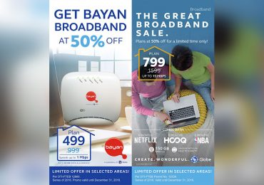 Christmas Deal: Take 50% off on Globe Broadband and Bayan Broadband