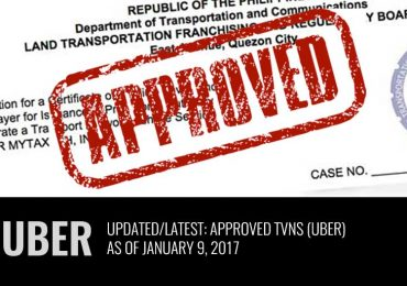 Latest: List of Approved TNVS (Uber)