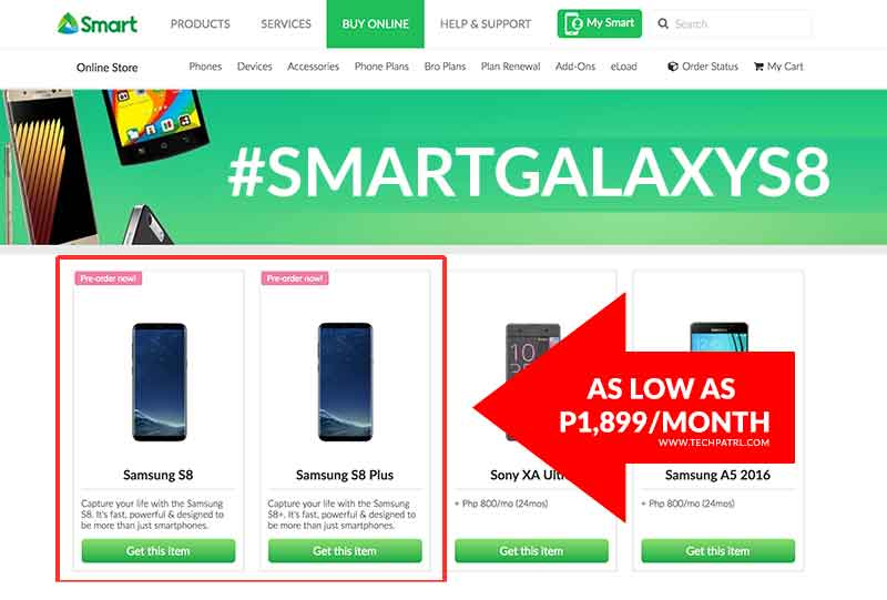 SMART Galaxy S8 and S8+ pre-order now live; Pay as low as P1,899 monthly