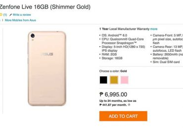 ASUS Zenfone Live is now available in Lazada