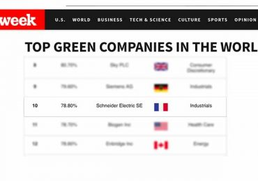 Schneider Electric rises to 10th place in the Newsweek Global Green Ranking 2016