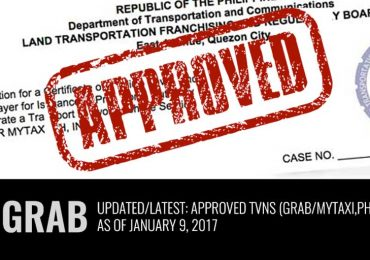 Latest: List of Approved TNVS (Grab)