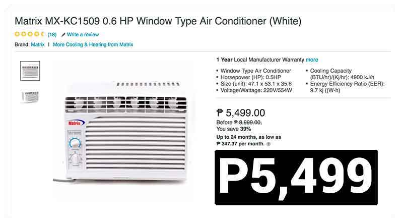 This 0 6 Hp Window Type Air Conditioner Is Only P5 499 Or