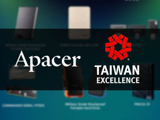 Photo of Apacer awarded as Outstanding Innovative Research and Development by 26th Taiwan Excellence