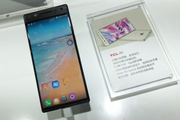 TCL A5 shows asymmetrical bezels with 5.7-inch display and 16MP selfie cam
