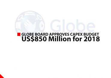 Globe Board approves capex budget of US$850 Million for 2018