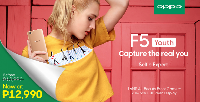 Photo of OPPO F5 Youth with 16MP A.l. selfie camera now priced at P12,990!