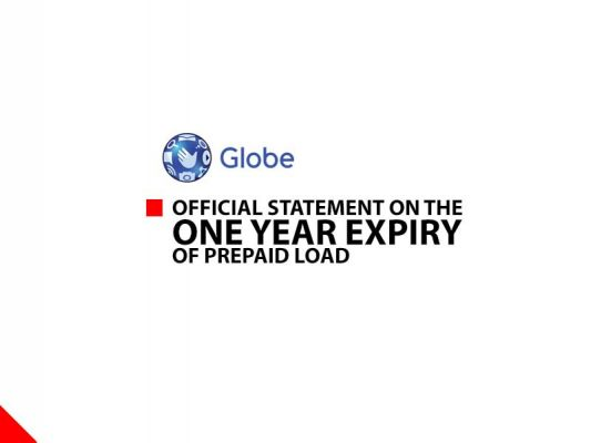 Photo of Globe's Official Statement on the One Year Prepaid Load Expiration