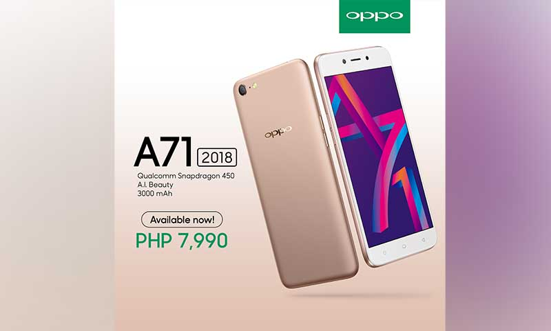 OPPO A71 2018 is now available; SRP is P7990