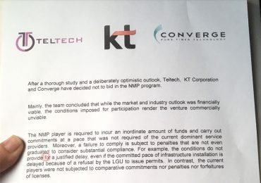 Converge is NOT bidding for the Third Telco