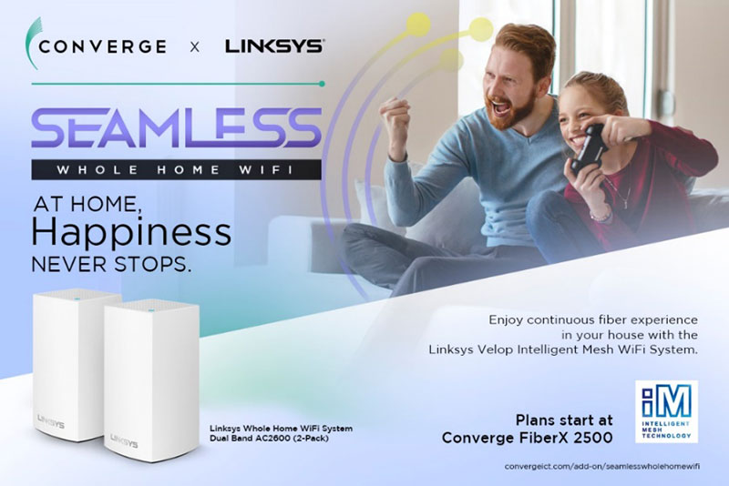 Just add P600 per month on your FiberX Plans to get the 2-Pack Linksys' Velop Intelligent Mesh Wi-Fi