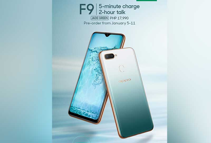 OPPO PH releases OPPO F9 Jade Green: 5-Min Charge, 2-Hr Talk time