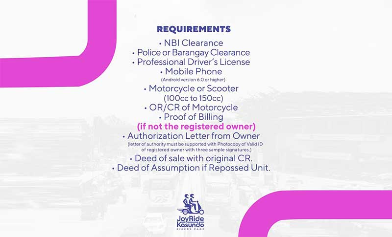 joyride requirements