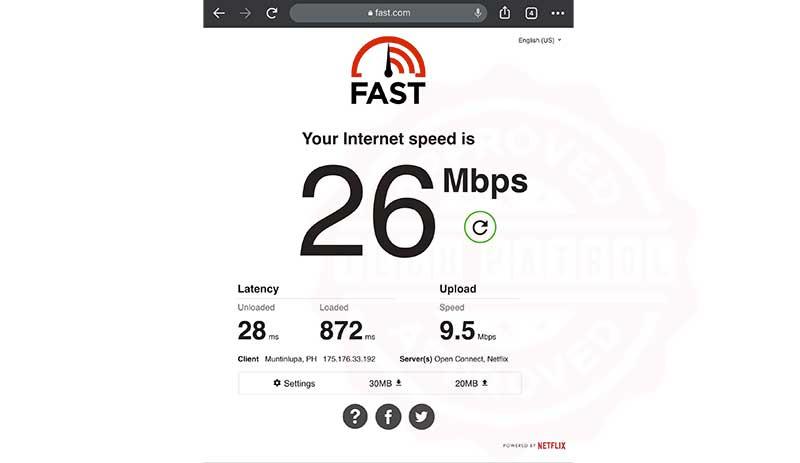 PLDT Home WiFi Speed Test